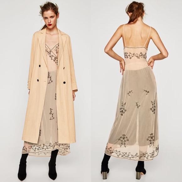 545694e6 NWOT ZARA Nude Mesh Beaded Embroidered Midi Dress.  M_5a9be87b3b160810459ff426